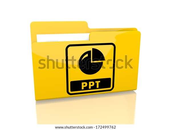 a 3d rendered icon showing a file folder with a ppt sign on it isolated on white background