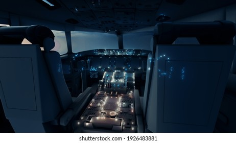 3d rendered illustration of air plane cockpit. High quality 3d illustration