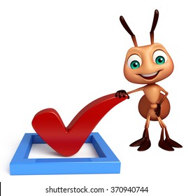 3d rendered illustration of Ant cartoon character with right sign