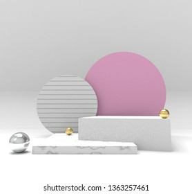 3d rendered illustration. Background for product design or text presentation mock up. Spheres, in pink and metallic gold colors. - Illustration