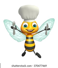 3d rendered illustration of Bee cartoon character with chef hat and utensils