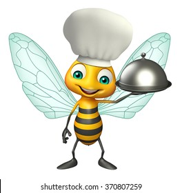 3d rendered illustration of Bee cartoon character with chef hat and cloche