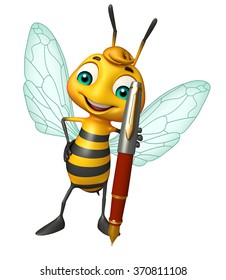 3d rendered illustration of Bee cartoon character with pen