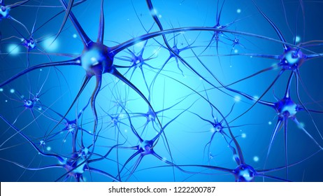 3D rendered Illustration of a biological neural cell network transmitting signals.