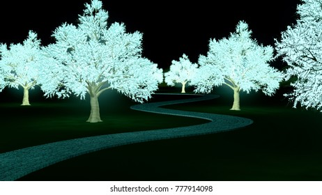 3D rendered illustration of bioluminescent trees lighting up a path on a grass field