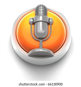 3D rendered illustration of button icon with Mic symbol