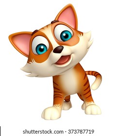 3d rendered illustration of cat funny cartoon character