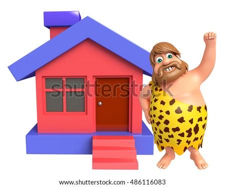 Prime 3 D Rendered Illustration Caveman Home Stock Illustration Home Interior And Landscaping Staixmapetitesourisinfo