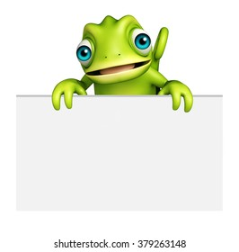 3d rendered illustration of Chameleon cartoon character with white board