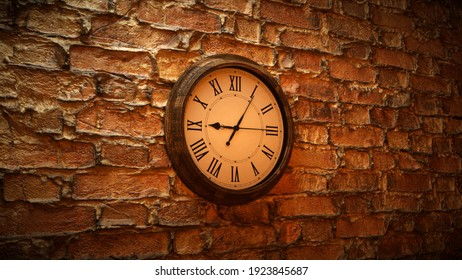 3d rendered illustration of Clock in old wall. High quality 3d illustration