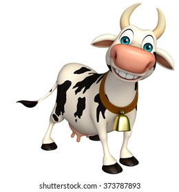 3d rendered illustration of Cow funny cartoon character