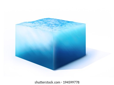 3d rendered illustration of cross section of water cube isolated on white