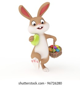 3d rendered illustration of a cute easter bunny