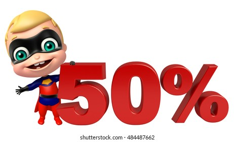 3d rendered illustration of cute super baby with 50% sign