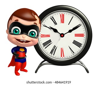 3d rendered illustration of cute superbaby with Clock