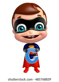 3d rendered illustration of cute superbaby with C alphabet