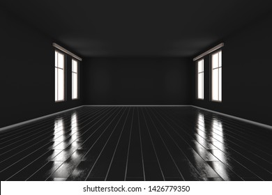 3D rendered Illustration of a dark empty room.