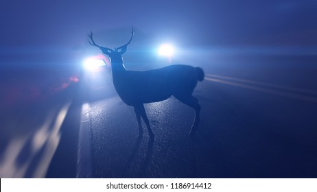 3d rendered illustration of a deer infront of a car