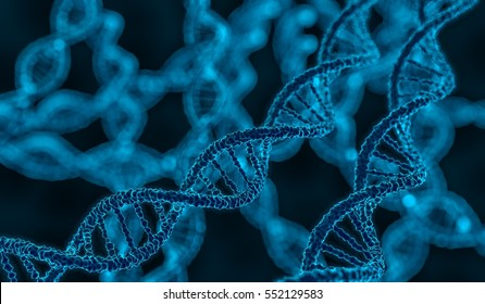 3D rendered illustration of DNA glowing molecule.