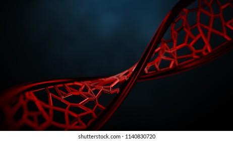 3D rendered illustration of DNA helix.