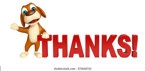 3d rendered illustration of Dog cartoon character  with thanks sign