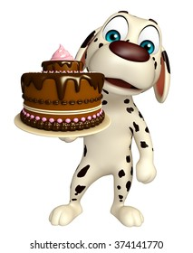 3d rendered illustration of Dog cartoon character  with cake