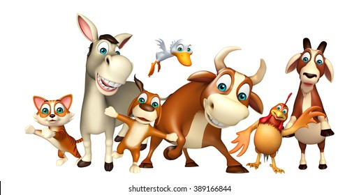 3d rendered illustration of Farm animal collection
