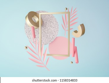3d rendered illustration with flying geometric shapes and tropical leaves. Trendy background for product design or text presentation.  Spheres, torus, cylinders in pink, blue and gold colors.