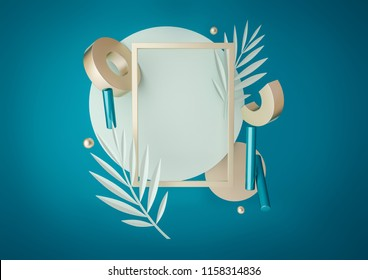 3d rendered illustration with flying geometric shapes, leaves, frame. Trendy background for product design or text presentation. Spheres, torus, cylinders, in turquoise and metallic gold colors.
