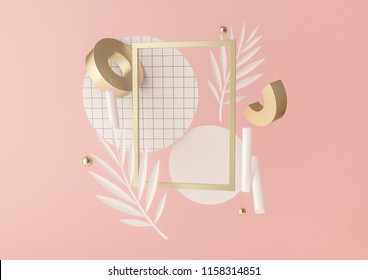 3d rendered illustration with flying geometric shapes, leaves and frame. Background for product design or text presentation mock up. Spheres, torus, cylinders, in pink and metallic gold colors.