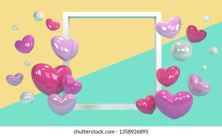 3D rendered illustration with flying hearts and pearls. White frame in focus for product design, text presentation.
