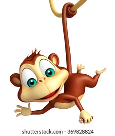 3d rendered illustration of funny Monkey cartoon character