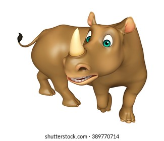 3d rendered illustration of funny Rhino cartoon character