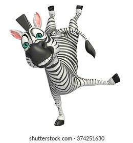3d rendered illustration of funny Zebra cartoon character