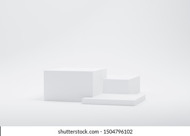 3d rendered illustration with geometric shapes. white three steps cube podium platforms for cosmetic product presentation.mock up minimal design with empty space. Abstract composition in modern style.