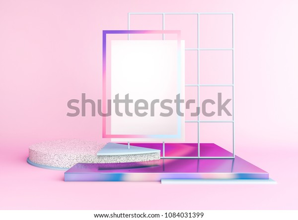 3d Rendered Illustration Geometric Shapes Holographic Stock