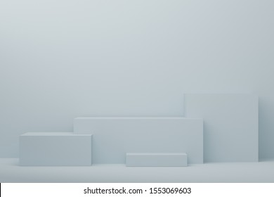 3d rendered illustration with geometric step blue cube podium platform for cosmetic product presentation.Mock up design empty space. Abstract composition in pastel background modern style