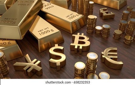 3D rendered illustration of gold bars and golden currency symbols. Stock exchange and banking concept.