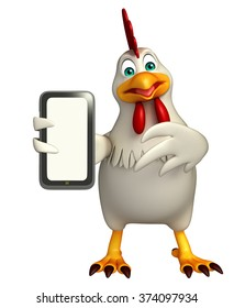 3d rendered illustration of  Hen cartoon character with mobile