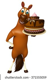 3d Rendered Illustration Of Horse Cartoon Character With Cake