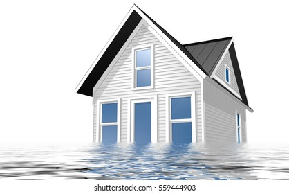 3d Rendered Illustration of a house being flooded with water over a white background.
