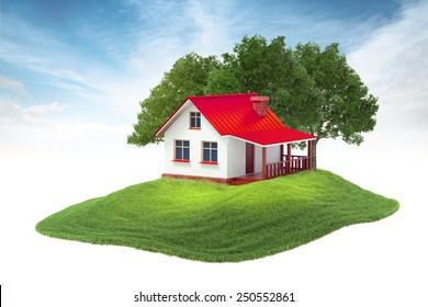 3d rendered illustration of house and trees floating in the air on sky background