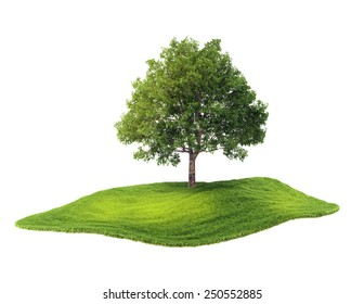 3d rendered illustration of an island with tree floating in the air. Isolate on white background