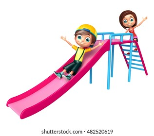 3d rendered illustration of Kid boy and girl with Sliding