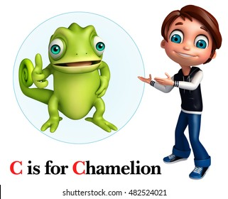 3d rendered illustration of Kid boy pointing Chamelion