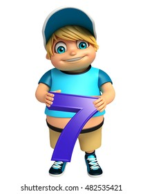 3d rendered illustration of kid boy with 7 Digit