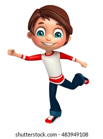 3d rendered illustration of Kid boy with Running pose