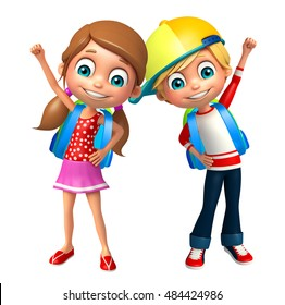 3d rendered illustration of Kid boy and Kid girl with School bag