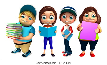 3d rendered illustration of Kid boy and Kid girl with Books
