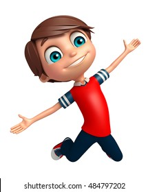 3d rendered illustration of Kid boy with Jumping pose